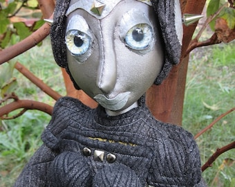 OOAK cloth art doll robot android, Coilette