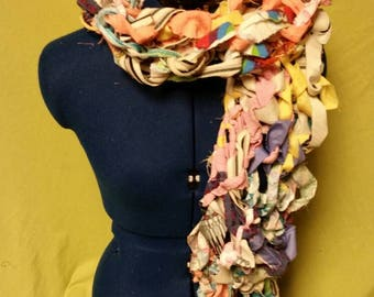 Arm Knitted Scrap Fabric Scarf