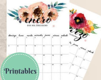 2018 Calendario Imprimible | Floral Watercolor Printable Calendar in Spanish | *Bonus  Sept- Dec 2017*