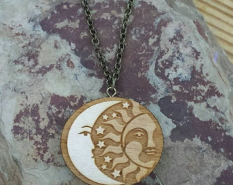 "Essential Oil Diffuser Necklace - Wood Sun and Moon Design with 24"" Chain"