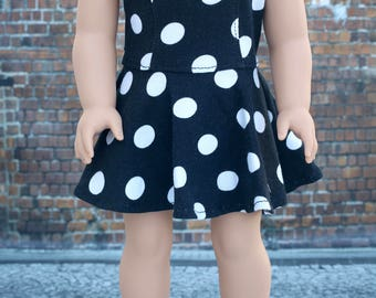 American Made Doll Clothes - Black White Dot Sleeveless Princess SKATER DRESS for 18 Inch