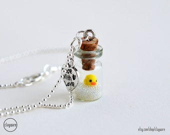 Rubber Ducky Necklace - Miniature Jar Rubber Duck Pendant Necklace - Rubber Ducky Bubbles Jewelry - Polymer Clay Kawaii Jewelry