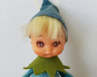 Vintage Elf Ornament Blonde Pouty Child, Made in Japan, ADORABLE Christmas Kitsch