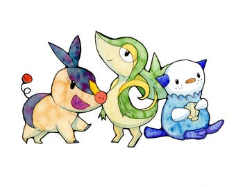 Generation 5 Starters Watercolor Print