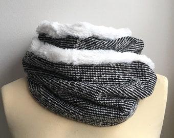 Snood adulte femme homme Ado lainage noir croisillon croix pois écru blanc doublé 2 tours fourrure synthétique