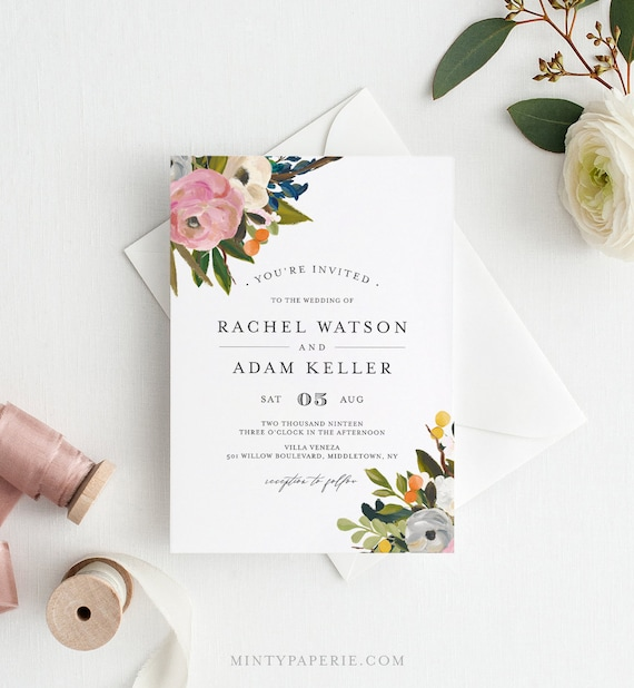 Floral Wedding Invitation Template, Instant Download, Printable Wedding Invite Set / Suite with RSVP & Details, 100% Editable Text #054A