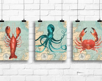 Nautical bathroom wall decor, nautical watercolor art prints, nautical nursery decor, octopus art print, crab wall art, lobster art, A-3059