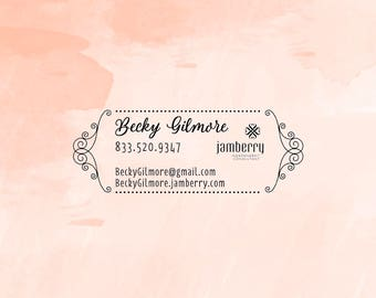 Business Rubber Stamp, Jamberry Independent Consultant Stamp, Business Card Stamp, Self Inking Name Stamp  - CB730