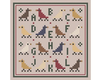 Sixteen Songbirds Sampler Ornament - Original Cross Stitch Sampler Ornament Chart