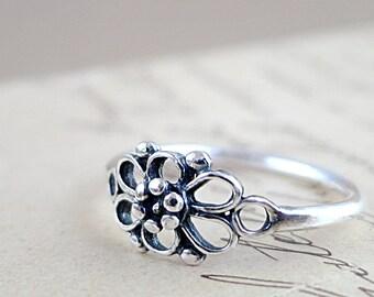 Sterling Silver Flower ring, Rosette