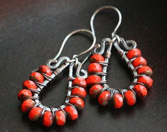 Bright orange beaded dangle earrings, dark oxidized copper, wire wrapped, hoop, drop earrings, Czech glass, Mimi Michele Jewelry