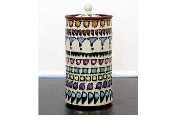 Mid Century Modern Italian Ceramic Vessel Container w Lid Signed on Bottom