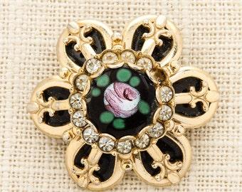Gold Flower Brooch Vintage Pink Green Enamel Black Rhinestone Broach Costume Jewelry Pin 6Y