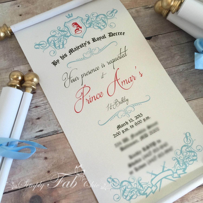 Royal Prince Princess Scroll Invitation Birthday Wedding