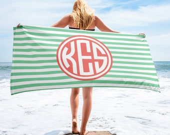 Monogram Personalized Striped Beach Towel Gift | monogram beach towel, beach towel, personalized towel, monogram towel, custom towel