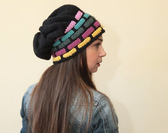 Black Slouchy Knit Hat with Motley stripes by Solandia, HAND KNITTED HAT, wool hat, hat for women, Winter Fashion, gift for her