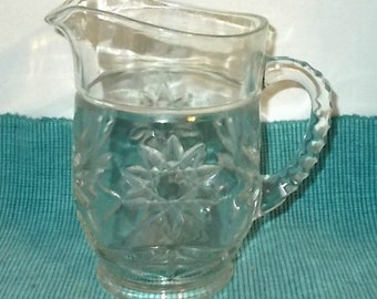 Vintage 1960's or 1970's Pressed Glass Pitcher-Starburst or Sunburst on Bottom-Ribbed Handle-2 Cups-16oz