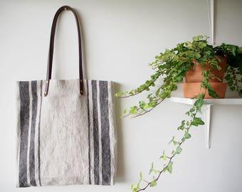 Linen Tote Bag, Linen Bag, Linen Shopping Bag, Beach Bag, Market Bag - Black Three Stripe