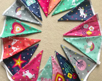 Handmade Bunting Unicorn, Princess, Castle, Clouds Design 3.75m MADE TO ORDER