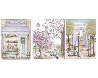 Paris Bedroom Decor Purple, Set Of 3, Personalized Baby Girl Gift, Laduree Patisserie, Lavender Gray Vintage Shabby Chic, 6 Sizes