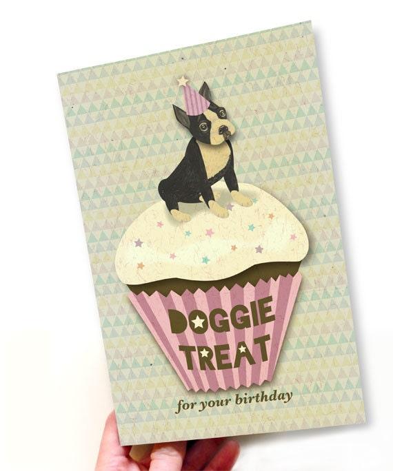 Printable PDF Boston Terrier & Cup Cake Birthday Card Instant