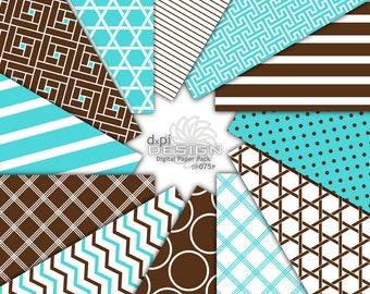 Turquoise & Brown - Digital Paper Printable Backgrounds - turquoise blue and brown digital scrapbook paper - Instant Download (DP075P)
