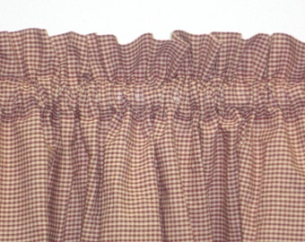 Country Primitive Burgundy Micro Check Gingham Homespun Valance Rustic Cottage Cabin