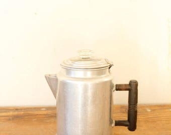 Vintage Rustic Stove Top Kettle Coffee Pot Percolator Aluminum Glass Wood Tea Kettle