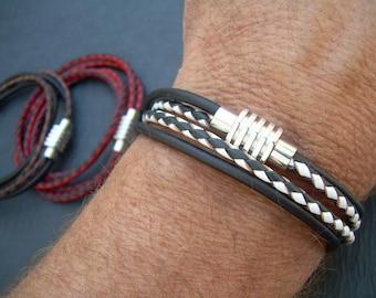 Mens Bracelets Leather, Magnetic Bracelet, Mens, Double Wrap, Leather Bracelet, Mens Gift, Mens Jewelry, Leather Bracelet, Black, Red, White