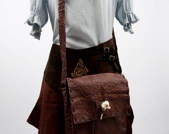 Large leather Flintstone shoulder bag barbarian larp orc game of thrones sca fantasy medieval costume adventurer primitive warcraft cosplay