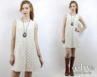 Crochet Lace Dress White Dress Hippie Wedding Dress Hippie Dress Hippy Dress Boho Dress Vintage 90s White Crochet Mini Dress M