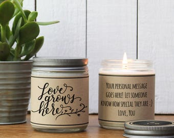 Love Grows Here Personalized Candle Gift - New Home Gift | New Baby Gift | Gift For Mom | Gift For Dad | Soy Candle Gift | Scented Candle
