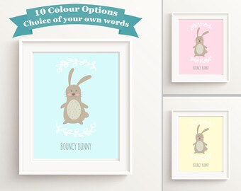 Rabbit Art Nursery Wall Art Girl, Bunny Print Nursery, Custom Nursery Decor, Rabbit Nursery Wall Art, Baby Girl Bedroom Decor, Cute Bunny