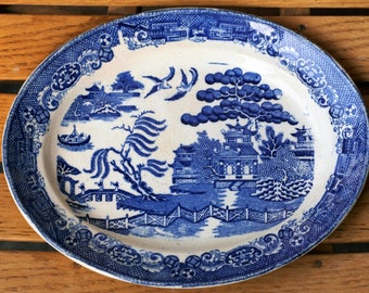 Rare Antique Blue Willow Stafford Shire Stone China Platter