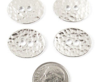 TierraCast Buttons-Rhodium Silver DISTRESSED OVAL (4)