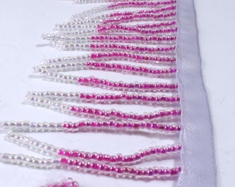 """Glass Beaded Fringe By the Foot, Dark and Light Pink, 2"""""""