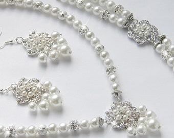 Bridal Jewelry Set, White Swarovski Pearl Bridal Jewelry Set, Pearl Necklace Earrings Bracelet Set,  art. e07-b20-n21