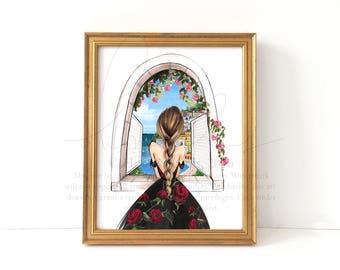 The View (Fashion Illustration Amalfi Coast Print)