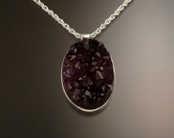 Amethyst Druzy Necklace Sterling Silver adjustable length