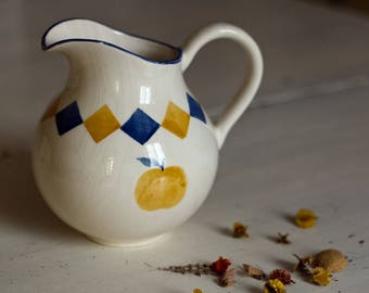 Colors Blue and yellow geometric decoration pitcher, water jug, wine pitcher hand painted jug pitcher ceramics in France.