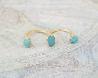Turquoise Statement Ring, 2 Finger Ring, 3 Finger Ring, Double Ring, Genuine Turquoise Ring, Birthday Gift, Christmas Gift, Unique Jewelry