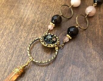 Antique Enamel Button Necklace with Smoky Quartz and Rose Quartz