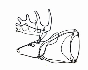 Deer Head Wire Sculpture, Deer Wire Art, Deer Sculpture, Minimal Sculpture, 599367673