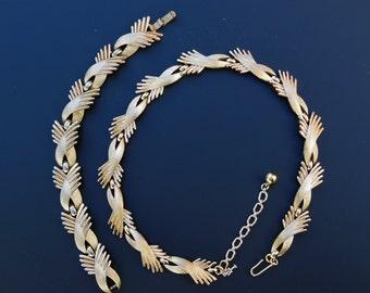 Crown Trifari Necklace and Bracelet Set - Vintage