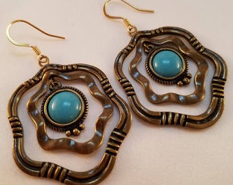 Turquoise and antique gold earrings.
