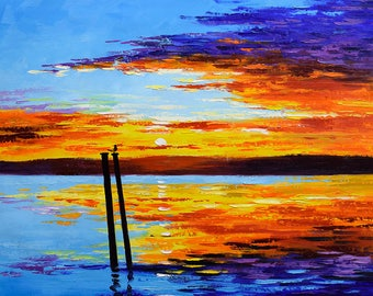 sunset Painting, sunrise painting, ocean sunset, beach sunset, ocean sunrise, clouds, sunset, sunset wall art,