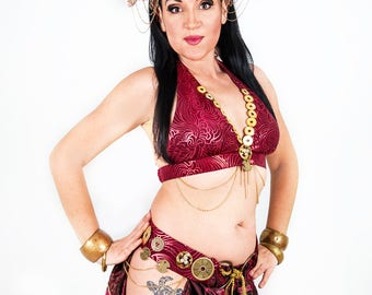 Tribal Fusion Costume Belly Dance Costume Fantasy Bohemian Vintage Red Costume Tribal Fusion Belt And Bra READY TO SHIP