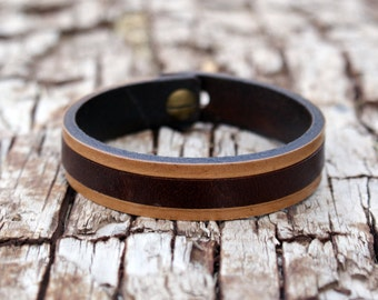 Leather bracelet mens leather bracelet carved brown barcelet mens jewelry leather wristband Anniversary Gift