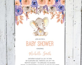Baby Shower Invitation Girl, Elephant Baby Shower Invitation, Fall, Floral, Blush, Purple, Watercolor, Printable, Printed