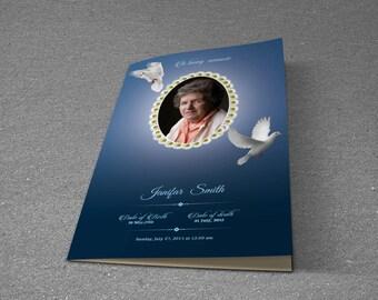 Printable Funeral Program Template | Memorial Program Template | Photoshop & MS Word Template | Instant Download | T-232